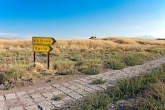 Verkeersteken archeologische uitgraving, Kueltepe, Kanish, Turkije stock foto