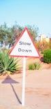 Verkeersteken in de Woestijn Royalty-vrije Stock Foto's