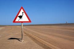 Verkeersteken in de Woestijn Namib Stock Afbeeldingen