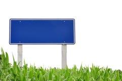 Verkeersteken en gras Stock Foto's