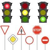 Verkeersteken en verkeerslichten Een opvlammend verkeerslicht vector illustratie