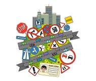 Verkeersteken en Verordeningen Royalty-vrije Stock Afbeelding