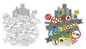 Verkeersteken en Verordeningen Stock Afbeelding