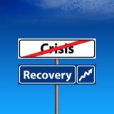 Verkeersteken het eind van crisis, economisch herstel Stock Foto's