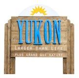 Verkeersteken het welkom heten in de staat van Yukon Royalty-vrije Stock Fotografie
