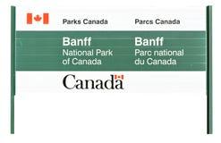 Verkeersteken het welkom heten in het Nationale Park van Banff Stock Afbeelding