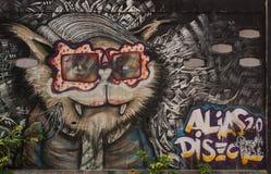 Verkeersteken in Hosier Lane Melbourne Kattenschilderijen op de muur Royalty-vrije Stock Fotografie