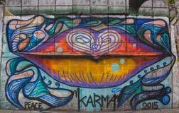 Verkeersteken in Hosier Lane Melbourne Schilderijen op de muur Royalty-vrije Stock Afbeelding