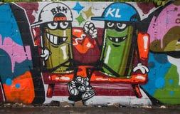 Verkeersteken in Hosier Lane Melbourne Schilderijen op de muur Stock Foto's