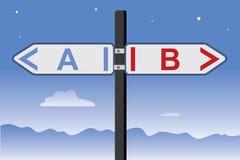 Verkeersteken met de richting van A en B- royalty-vrije illustratie
