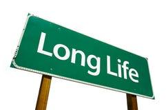 Verkeersteken met lange levensuur die op wit worden geïsoleerdi. stock afbeeldingen