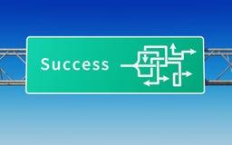 Verkeersteken met veelvoudige weggen naar het succes vector illustratie