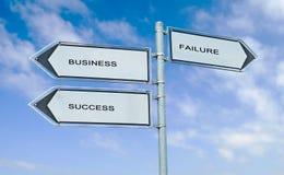 Verkeersteken met woordenzaken, succes, mislukking stock fotografie