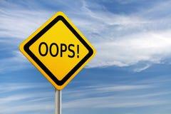 Verkeersteken OOPS tegen blauwe hemel Royalty-vrije Stock Fotografie