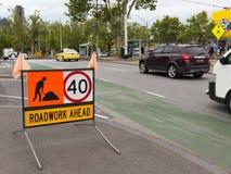 Verkeersteken op de weg, Melbourne Royalty-vrije Stock Afbeelding