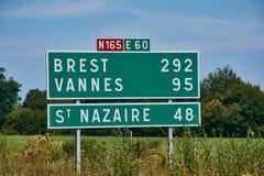 Verkeersteken op een Franse weg royalty-vrije stock foto's