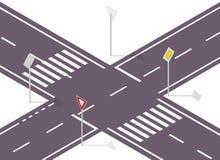 Verkeersteken op straat Straatverkeersteken Informatie grafische crossway Stock Afbeeldingen