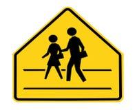 Verkeersteken - school die met lijnen kruist Stock Foto
