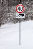Verkeersteken voor maximumsnelheid 40 km per uur Stock Foto