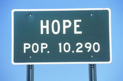 Verkeersteken voor stad van Hoop in Hempstead-Provincie, Arkansas Royalty-vrije Stock Foto's