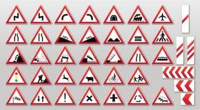 Verkeersteken - Waarschuwingen royalty-vrije illustratie