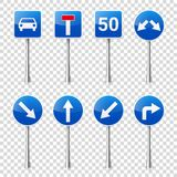 Verkeerstekeninzameling op transparante achtergrond wordt geïsoleerd die Verkeercontrole Steeggebruik Einde en opbrengst regelgev Stock Foto