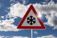 Verkeerstekensneeuwval Royalty-vrije Stock Afbeelding