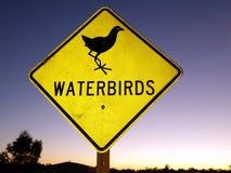 Verkeerstekenwaarschuwing van de waarschijnlijkheid die van watervogels de weg kruisen Stock Foto's