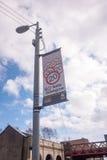Verkeersveiligheidsteken in Glasgow Schotland Stock Afbeeldingen