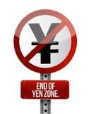 Verkeerteken met een eind van de Yenstreek stock illustratie