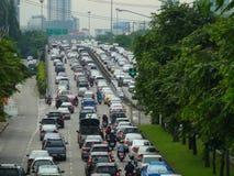 Verkehr der festgefahrenen Situation in Bangkok Lizenzfreies Stockfoto