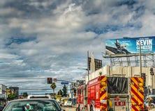 Verkehr im im Stadtzentrum gelegenen LA Stockfotografie