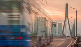 Verkehr in Riga-Stadt Lizenzfreies Stockfoto