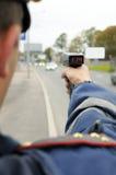 Verkehr unter Überwachung. Stockbild