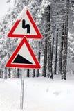 Verkehr Verkehrsschild innen Schnee Stockfoto