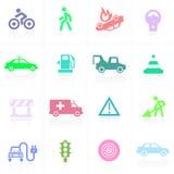 Verkehrsanwendungsikonen in der Farbe Stockbilder