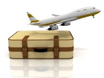 Verkehrsflugzeug und Koffer Stockfoto