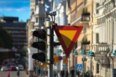Verkehrsflusssteuerung in Helsinki stockbild