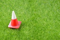 Verkehrskegel auf einem Gras Lizenzfreies Stockbild