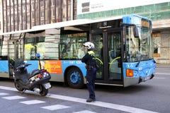 Verkehrspolizei in Madrid Stockbild