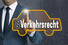 Verkehrsrecht in german Traffic law auto touchscreen is operat Stock Images