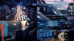 Verkehrsreiche Stadt-Straßen an der Nachtmontage stock video footage