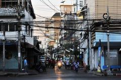 Verkehrsreiche Straße in Bangkok Stockfotos