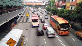 Verkehrsreiche Straße an Pudu-Piazza Rakyat Kuala Lumpur stockfotografie