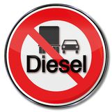 Prohibition for diesel. In this car or truck royalty free illustration