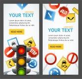 Verkehrsschild-Antriebs-Schulflieger-Fahnen-Poster-Karten-Satz Vektor lizenzfreie abbildung