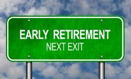 Verkehrsschild der vorzeitigen Pensionierung Lizenzfreie Stockfotografie