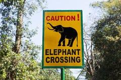 Verkehrsschild-Elefantüberfahrt Lizenzfreie Stockfotografie