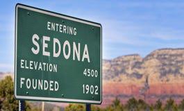 Verkehrsschild für Sedona Arizona, Stockfotografie