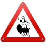 Verkehrsschild. Gefahr! Furchtsames Tier! Stockfotografie